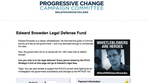 HT snowden donation page thg 130610 wblog Progressives Raise Money for NSA Leaker Snowdens Legal Defense