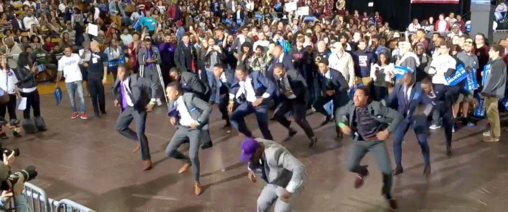 PHOTO: Morehouse College chapter of Omega Psi Phi Fraternity Incorporated gives energetic performance at Bernie Sanders rally in Atlanta, Georgia.