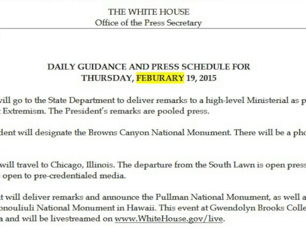 PHOTO: The White House cant seem to spell February.