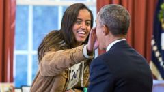 "PHOTO: Feb. 23, 2015: ""The Presidents daughter Malia stopped by the Oval Office one afternoon to see her dad and, while they were talking, she wiped something from his face."""