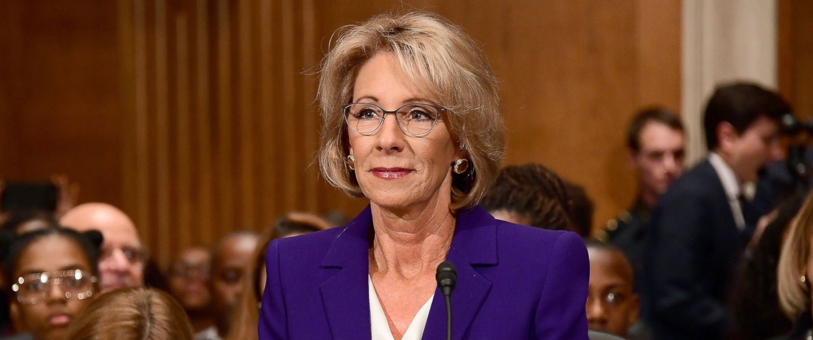 PHOTO: Betsy DeVos of Grand Rapids, Michigan appears before the United States Senate Committee on Health, Education, Labor on Capitol Hill in Washington, Jan. 17, 2017.