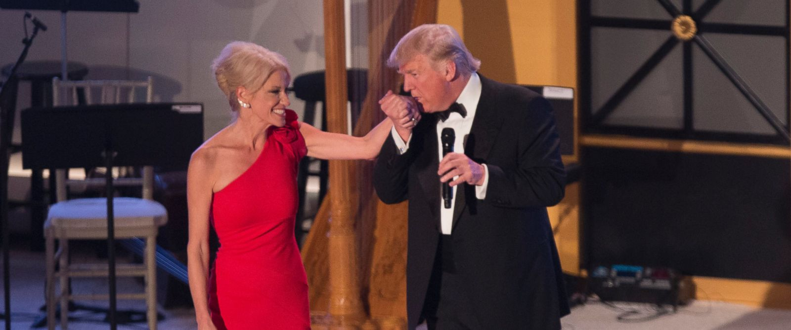 "PHOTO: President-elect of The United States Donald J. Trump kisses the hand of his campaign manager Kellyanne Conway at the ""Candlelight"" dinner to thank donors in Washington, Jan. 19, 2017."