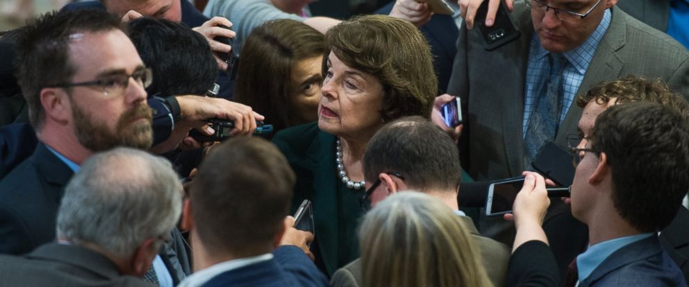 PHOTO: Sen. Dianne Feinstein, D-Calif., talks with reporters on Capitol Hill, May 17, 2017.