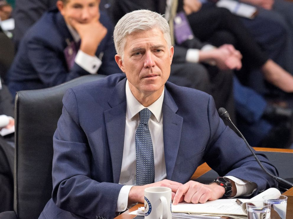 PHOTO: Judge Neil Gorsuch testifies before the United States Senate Judiciary Committee on his nomination as Associate Justice of the US Supreme Court to replace the late Justice Antonin Scalia on Capitol Hill in Washington, on March 22, 2017.