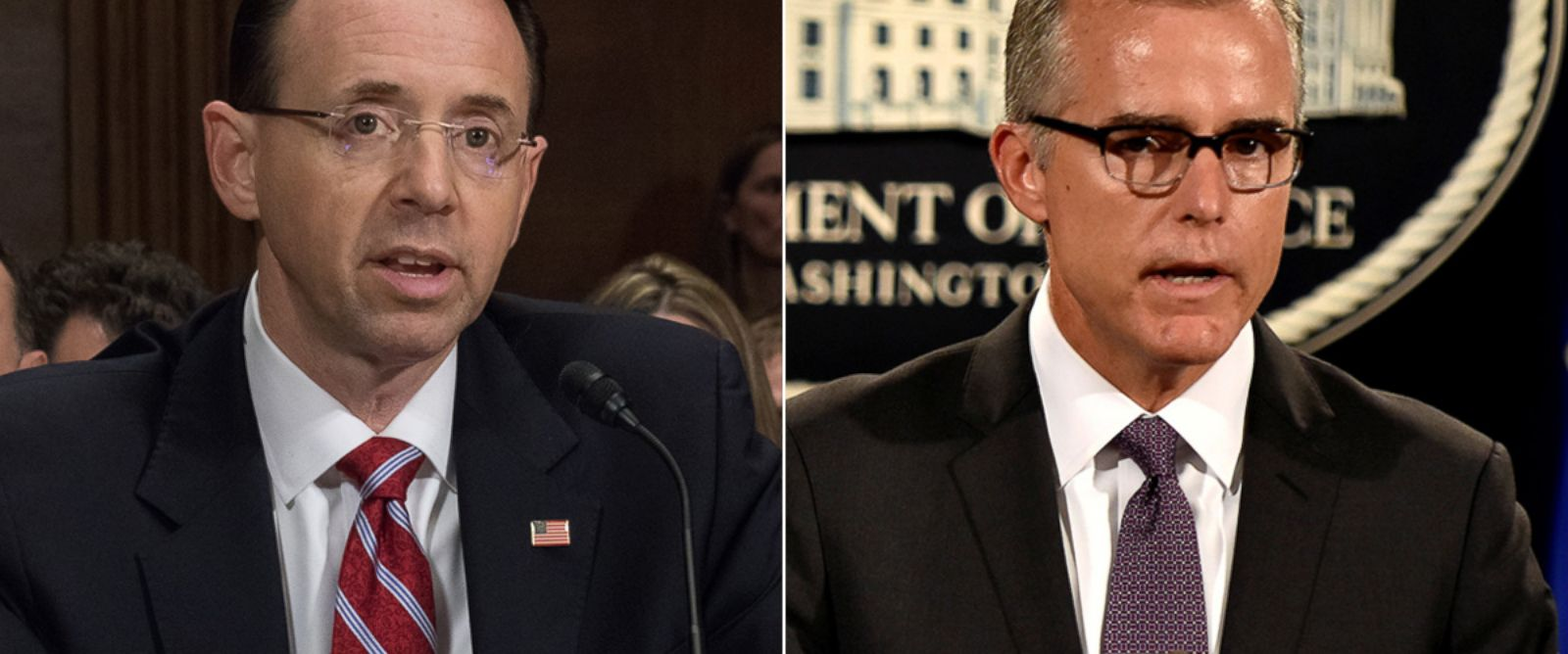 PHOTO: Rod J. Rosenstein, President Donald Trumps nominee for deputy attorney general on Capitol Hill, on March 7, 2017, in Washington   FBI Deputy Director Andrew McCabe details the filing of civil forfeiture complaints, on July 20, 2016, in Washington.