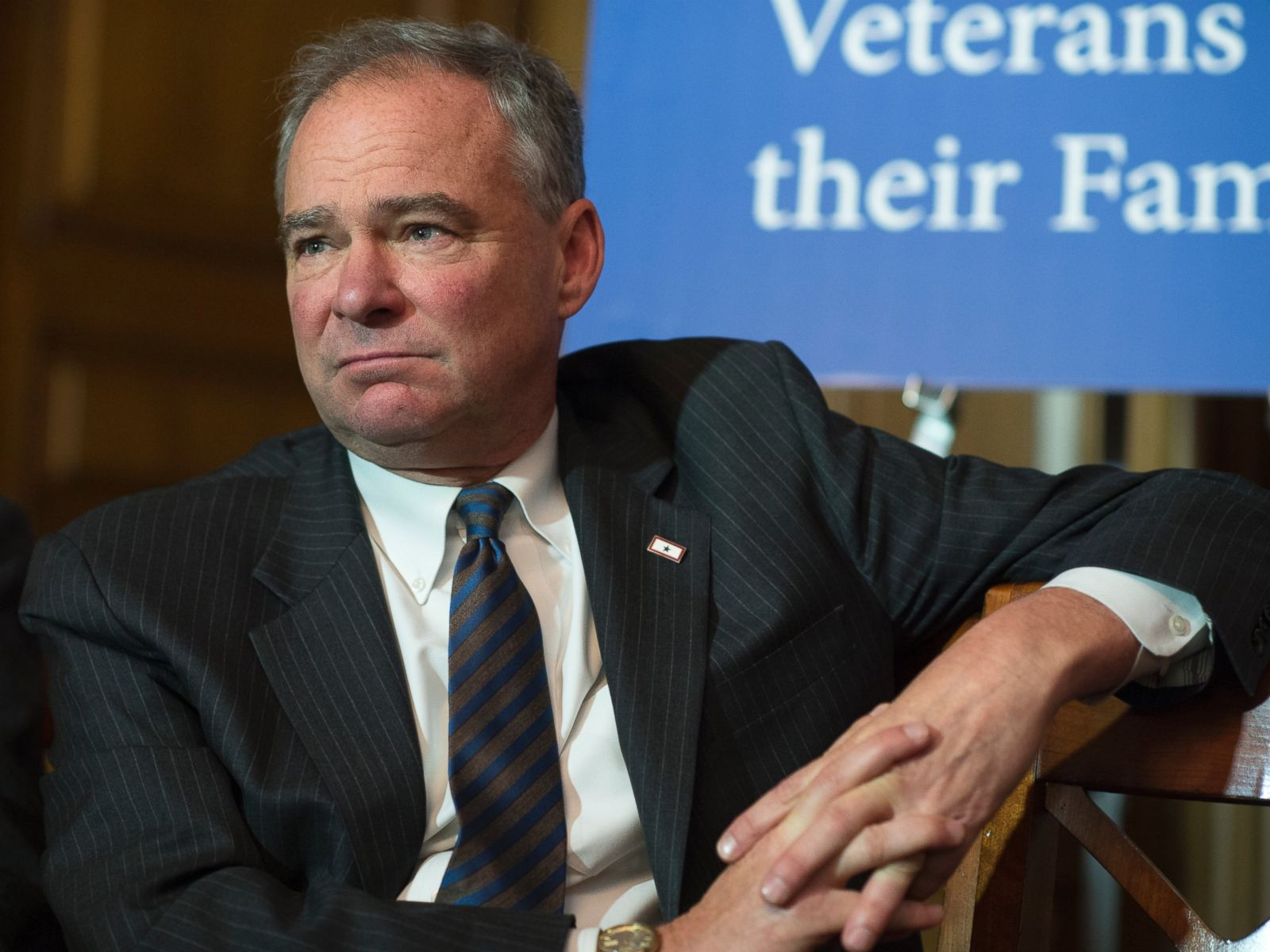 PHOTO: Sen. Tim Kaine, D-Va., attends a news conference with Filipino World War II veterans in the Capitol, June 9, 2016.