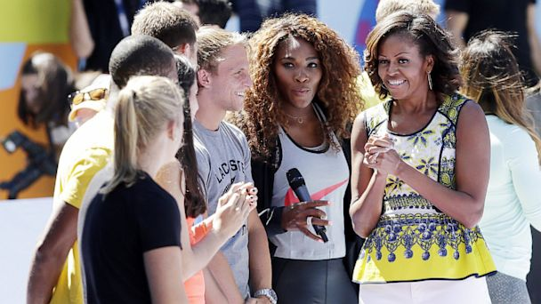 NC michelle obama serena williams jt 130824 16x9 608 Michelle Obama Grew Up Without Tennis, Made Her Kids Play It