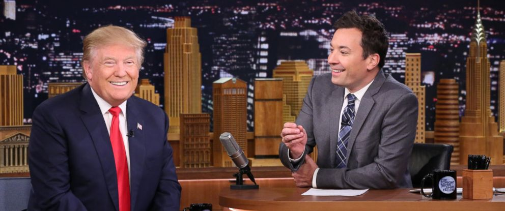 PHOTO: Presidential candidate Donald Trump during an interview with host Jimmy Fallon on January 11, 2016.