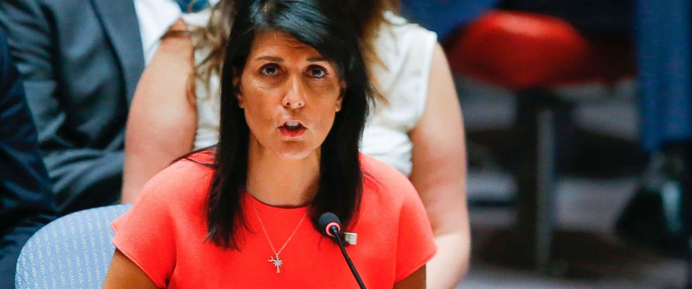 PHOTO: US Ambassador to the United Nations Nikki Haley speaks after voting on a US-drafted resolution toughening sanctions on North Korea, at the United Nations Headquarters in New York, on August 5, 2017.