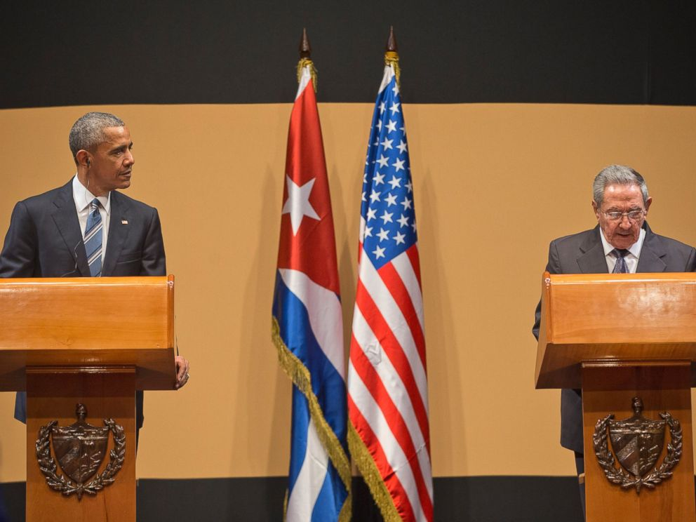 PHOTO: President Barack Obama listens as Cuban President Raul Castro speaks during their news conference at the Palace of the Revolution, March 21, 2016, in Havana, Cuba.