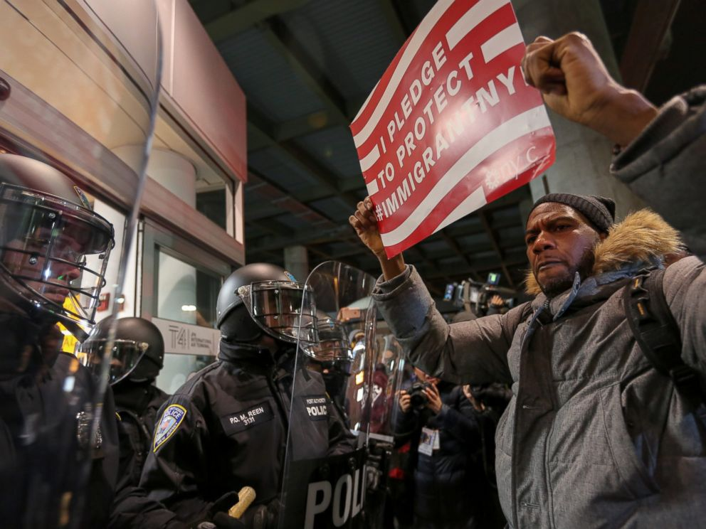PHOTO: Protesters rally outside terminal 4 at JFK airport in response to a ban on immigration issued by President Donald Trump on Han. 28, 2017.