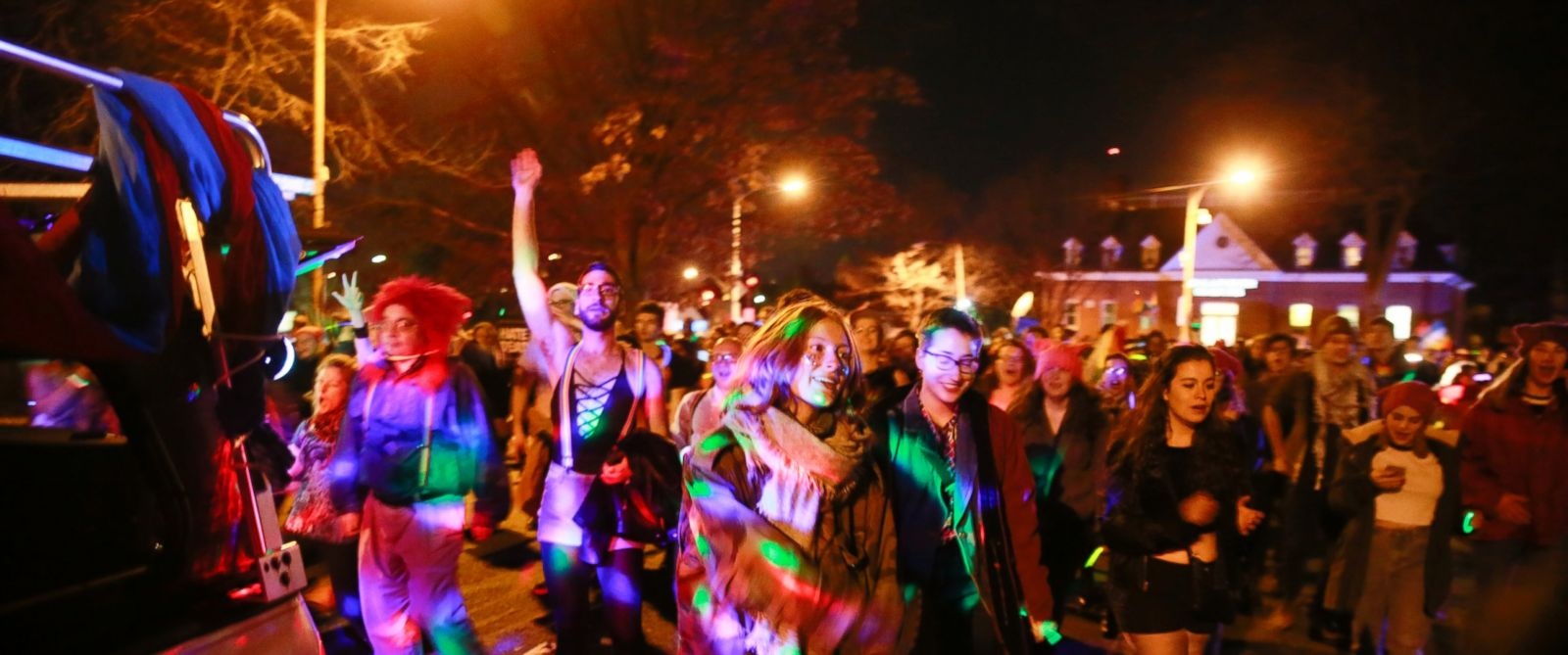 PHOTO: Members of the LGBT community and gay rights groups carried out a dance party near the home of Vice President-elect Mike Pence on Primrose Street two days before he is sworn in as Vice President, January 18, 2017 in Chevy Chase, Maryland.