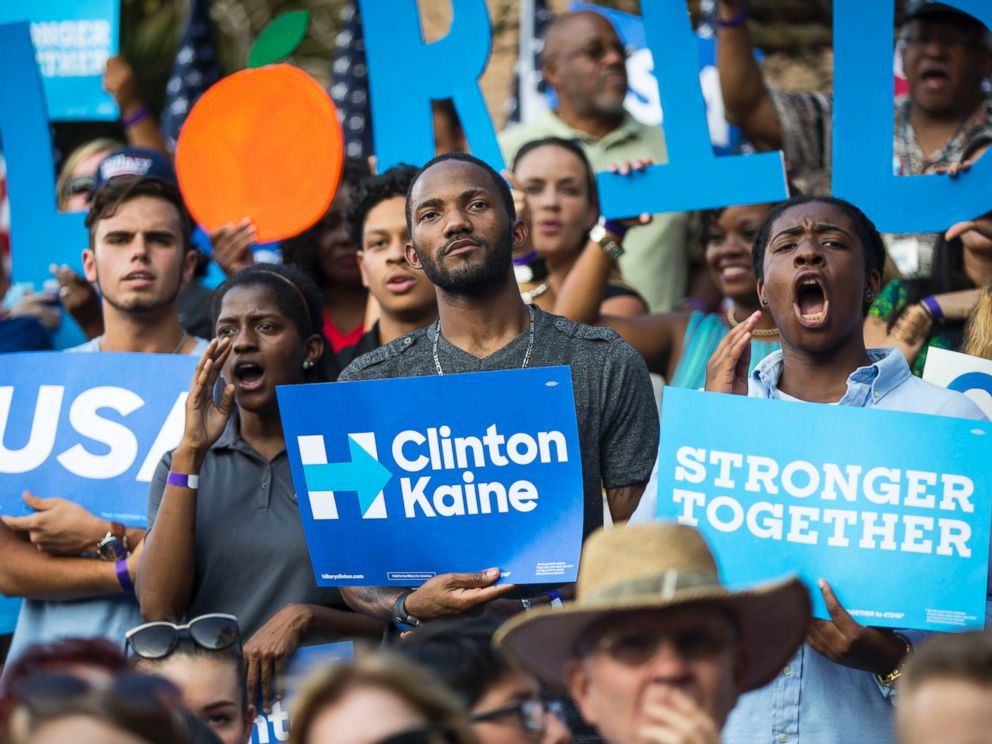 PHOTO: Supporters in the crowd for Hillary Clintons campaign rally at the Pasco-Hernando State College campus in Dade City, Florida, Nov, 1, 2016.