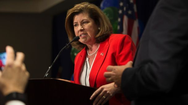 PHOTO: Republican candidate Karen Handel speaks during her viewing party on the day of the special election for Georgia's 6th Congressional District, at the Hyatt Regency Atlanta Perimeter, in Atlanta, June 20, 2017.