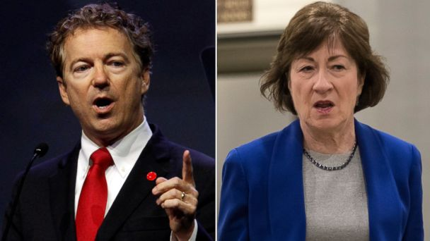 PHOTO: Pictured (L-R) are Rand Paul in Louisville, Ky., May 20, 2016 and Susan Collins in Washington, D.C., June 22, 2017.
