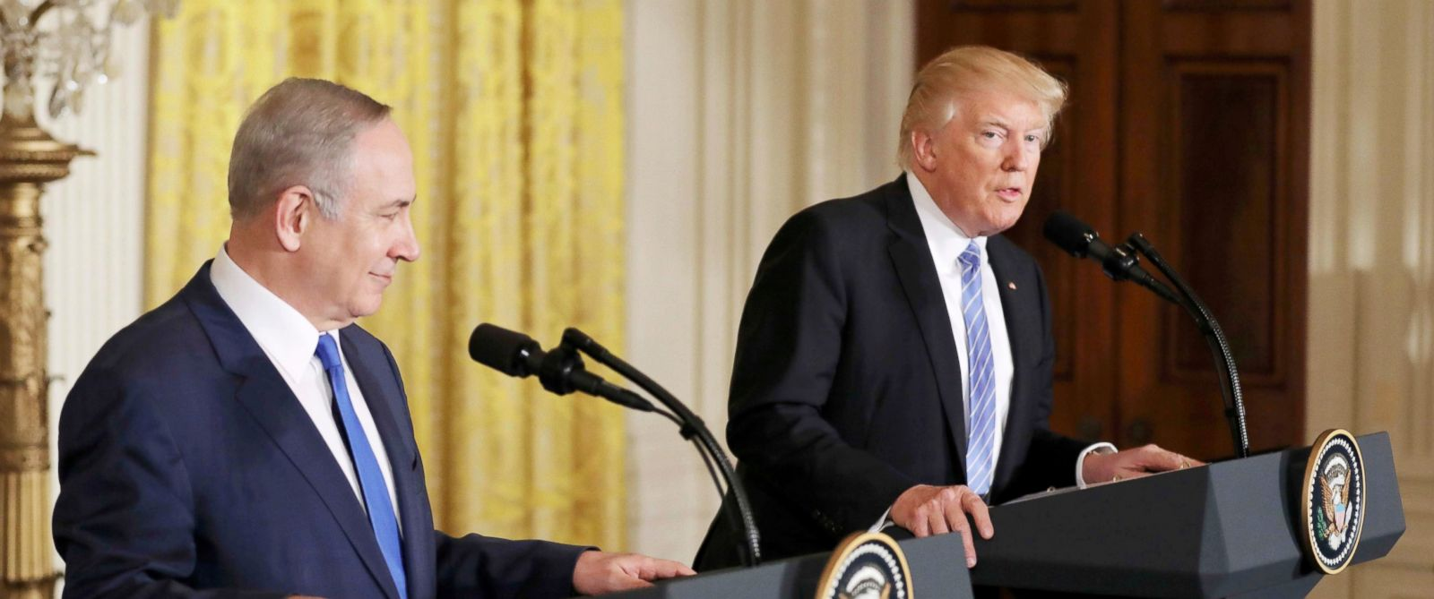 PHOTO: Israeli Prime Minister Benjamin Netanyahu and President Donald Trump hold a joint news conference at the White House in Washington, Feb. 15, 2017.