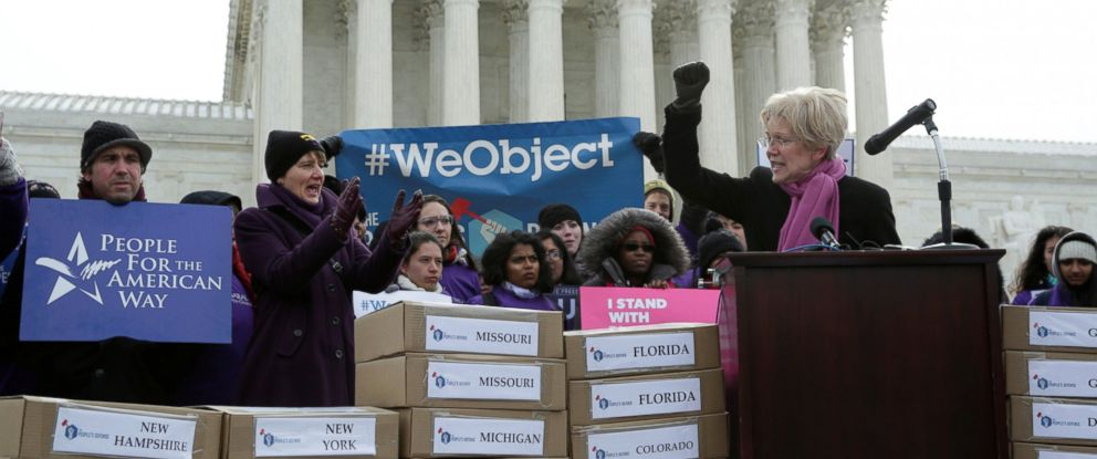 PHOTO: Senator Elizabeth Warren speaks in front of the U.S. Supreme Court to kick off the delivery of petitions calling on senators to oppose Supreme Court nominee Judge Neil Gorsuch in Washington, March 15, 2017.
