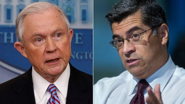 PHOTO: (L-R) Pictured in Washington are Attorney General Jeff Sessions on March 27, 2017 and Representative Xavier Becerra on May 21, 2015.