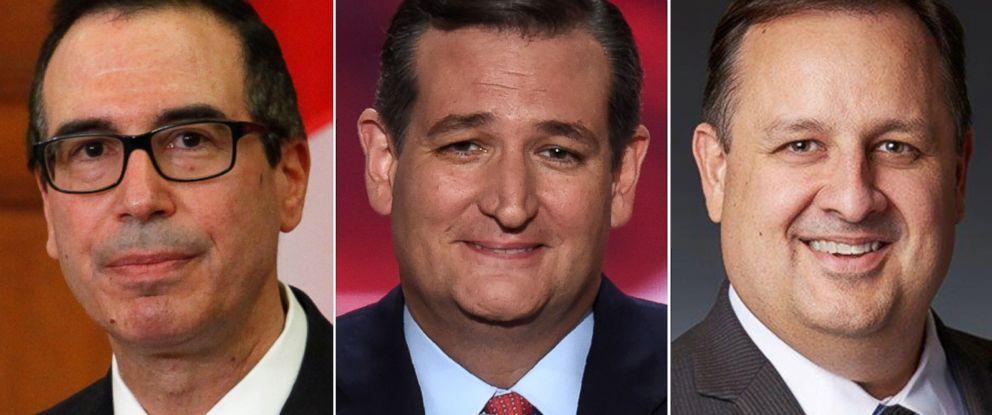 PHOTO: Pictured (L-R) are Secretary of the Treasury Steven Mnuchin, Sen. Ted Cruz and Director of U.S. Office of Government Ethics Walter Shaub.