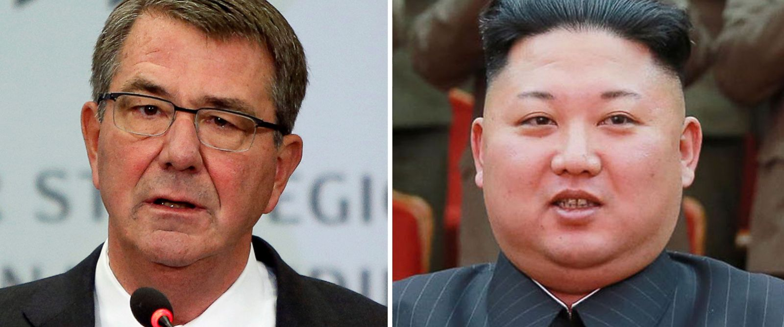 PHOTO: (L-R) Pictured are U.S. Defense Secretary Ash Carter in Washington, Oct. 28, 2016 and North Korean leader Kim Jong-Un in Pyongyang, Feb. 22, 2017.
