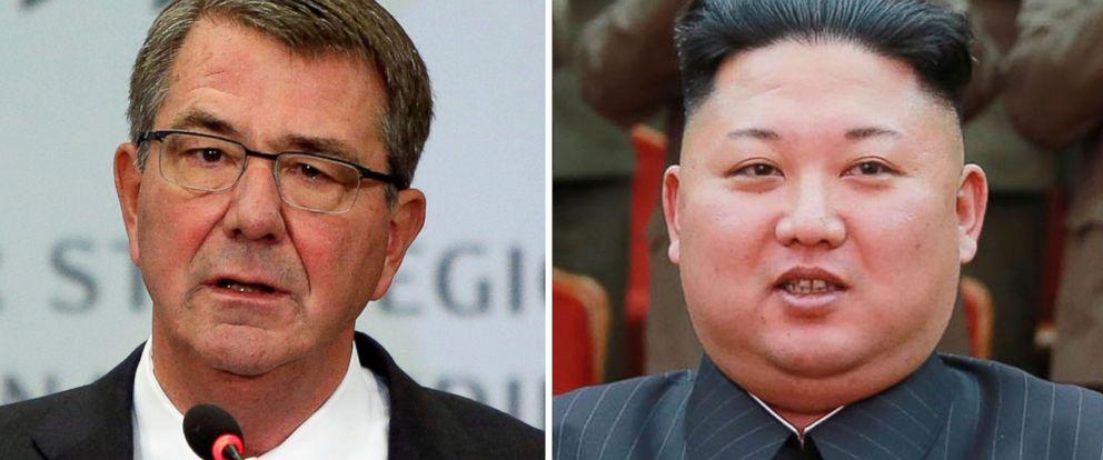 PHOTO: (L-R) Pictured are U.S. Defense Secretary Ash Carter in Washington, Oct. 28, 2016 and North Korean leader Kim Jong-Un in Pyongyang, Feb. 22, 2017.