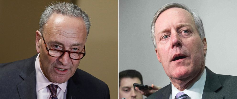 PHOTO: (L-R) Pictured in Washington, D.C., are Senate Minority Leader Chuck Schumer on March 13, 2017 and Republican Representative Mark Meadows on March 23, 2017.