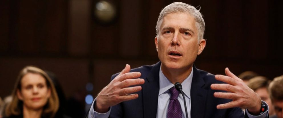 PHOTO: With his wife Louise looking on,U.S. Supreme Court nominee judge Neil Gorsuch testifies during the second day of his Senate Judiciary Committee confirmation hearing on Capitol Hill in Washington, March 21, 2017.