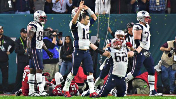 PHOTO:  New England Patriots quarterback Tom Brady (12) celebrates after the game winning touchdown against the Atlanta Falcons in Super Bowl LI, Feb. 5, 2017.