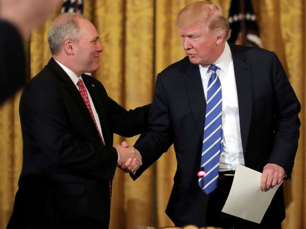 PHOTO: House Majority Whip Steve Scalise shakes hands with President Donald Trump in the East room of the White House in Washington, March 7, 2017.