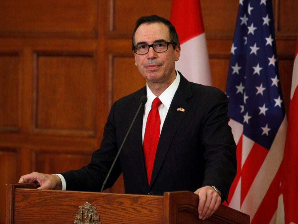 PHOTO: U.S. Secretary of the Treasury, Steven Mnuchin, speaks at a news conference on Parliament Hill in Ottawa, June 9, 2017.