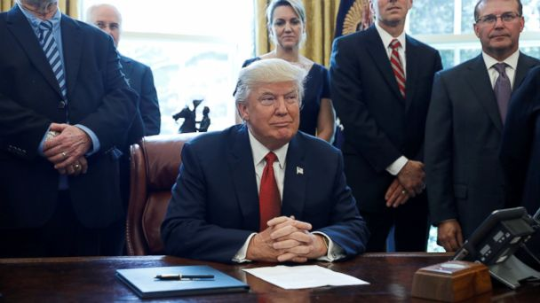 PHOTO: U.S. President Donald Trump speaks before signing a directive ordering an investigation into the impact of foreign steel on the American economy in the Oval Office of the White House in Washington, April 20, 2017.