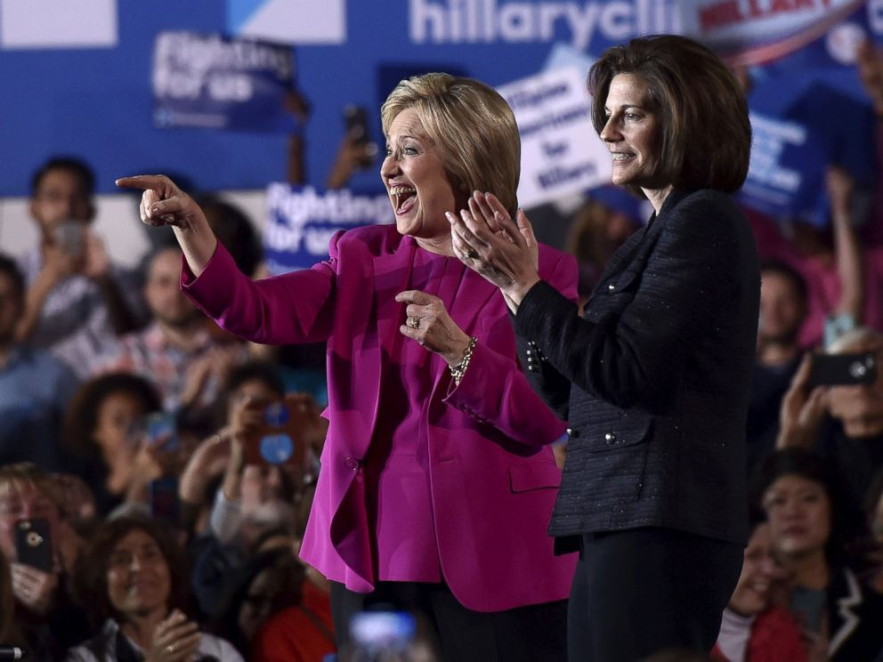 PHOTO: Democratic presidential candidate Hillary Clinton (L) appears on stage with Nevada Senate candidate Catherine Cortez Masto at a campaign rally at the Laborers International Union hall in Las Vegas, Feb. 18, 2016.