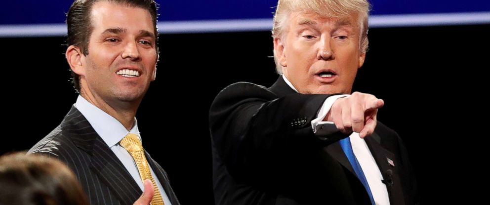 PHOTO: Donald Trump Jr. gives a thumbs up beside his father, Donald Trump, in Hempstead, New York, Sept. 26, 2016.