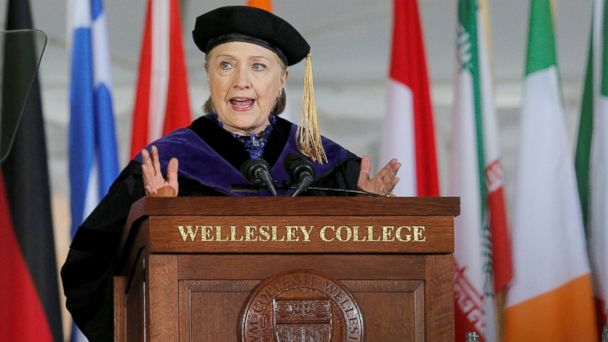 PHOTO: Former U.S. Secretary of State Hillary Clinton delivers the Commencement Address at Wellesley College in Wellesley, Massachusetts, May 26, 2017.