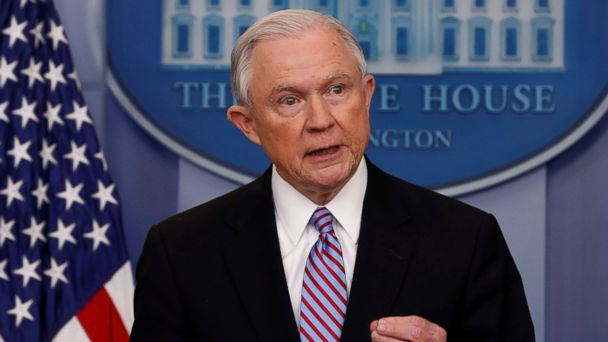 PHOTO: Attorney General Jeff Sessions speaks during the daily press briefing at the White House in Washington, March 27, 2017.