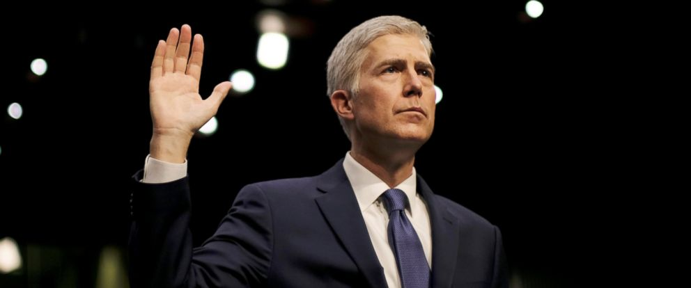 PHOTO: U.S. Supreme Court nominee judge Neil Gorsuch is sworn in to testify at his Senate Judiciary Committee confirmation hearing on Capitol Hill in Washington, March 20, 2017.