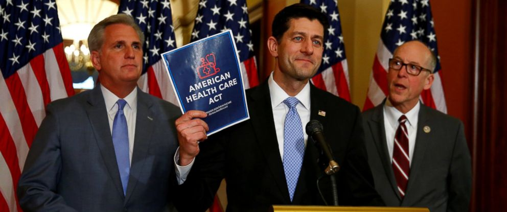 PHOTO: House Majority Leader Kevin McCarthy, House Speaker Paul Ryan, and Rep. Greg Walden hold a news conference on the American Health Care Act on Capitol Hill in Washington, March 7, 2017.