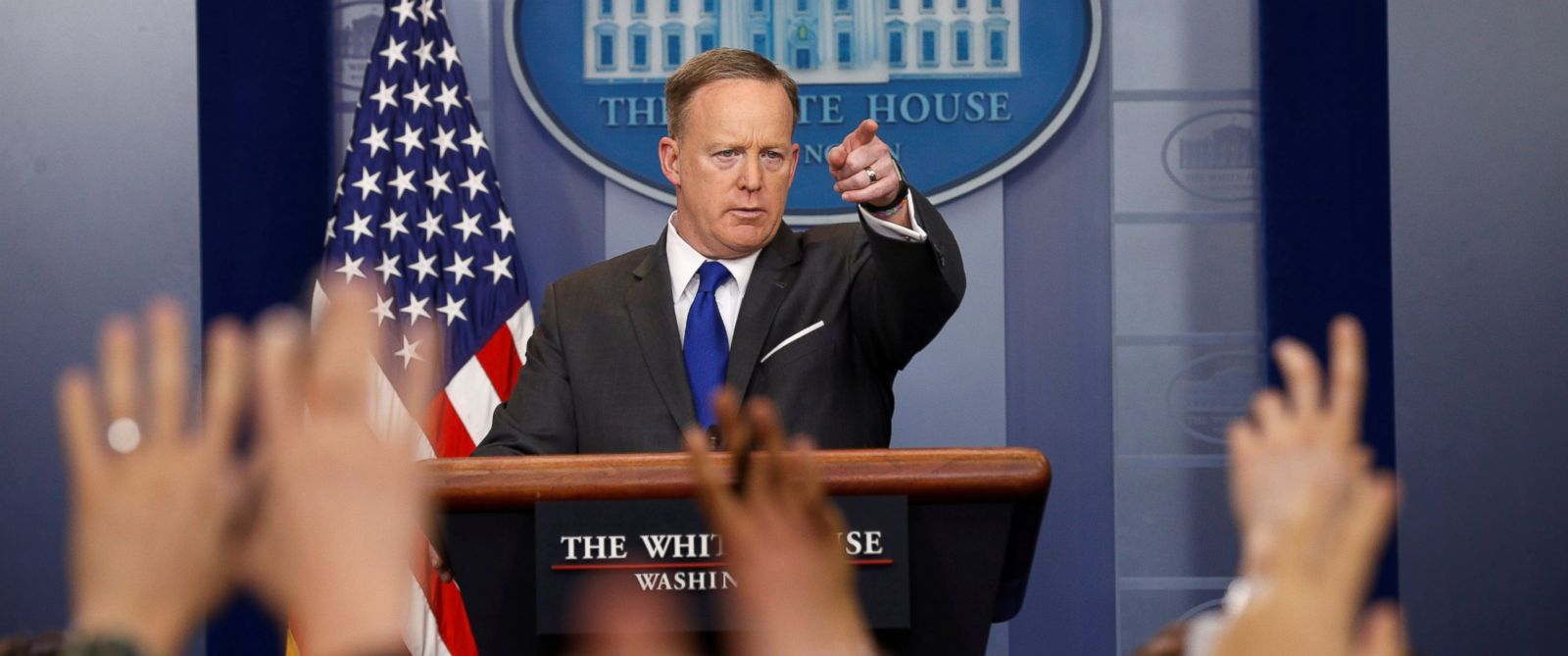 PHOTO: White House spokesman Sean Spicer holds a briefing at the White House in Washington, March 20, 2017.