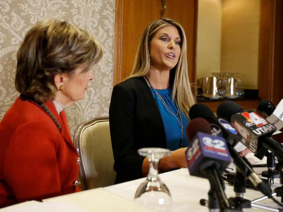 PHOTO: Temple Taggart, (R), Miss Utah 1997, with her attorney Gloria Allred, (L), talks to the press about allegations against Donald Trump on Oct. 28, 2016, in Salt Lake City, Utah.