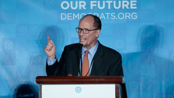 PHOTO: Democratic National Chair candidate, Tom Perez, addresses the audience as the Democratic National Committee holds an election to choose their next chairperson at their winter meeting in Atlanta, Feb. 25, 2017.