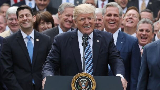 PHOTO: President Donald Trump celebrates with Congressional Republicans in the Rose Garden of the White House after the House of Representatives approved the American Healthcare Act in Washington, May 4, 2017.