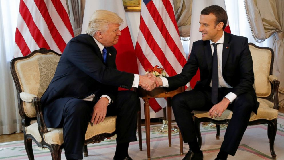 PHOTO: President Donald Trump and French President Emmanuel Macron shake hands before a lunch ahead of a NATO Summit in Brussels, Belgium, May 25, 2017.
