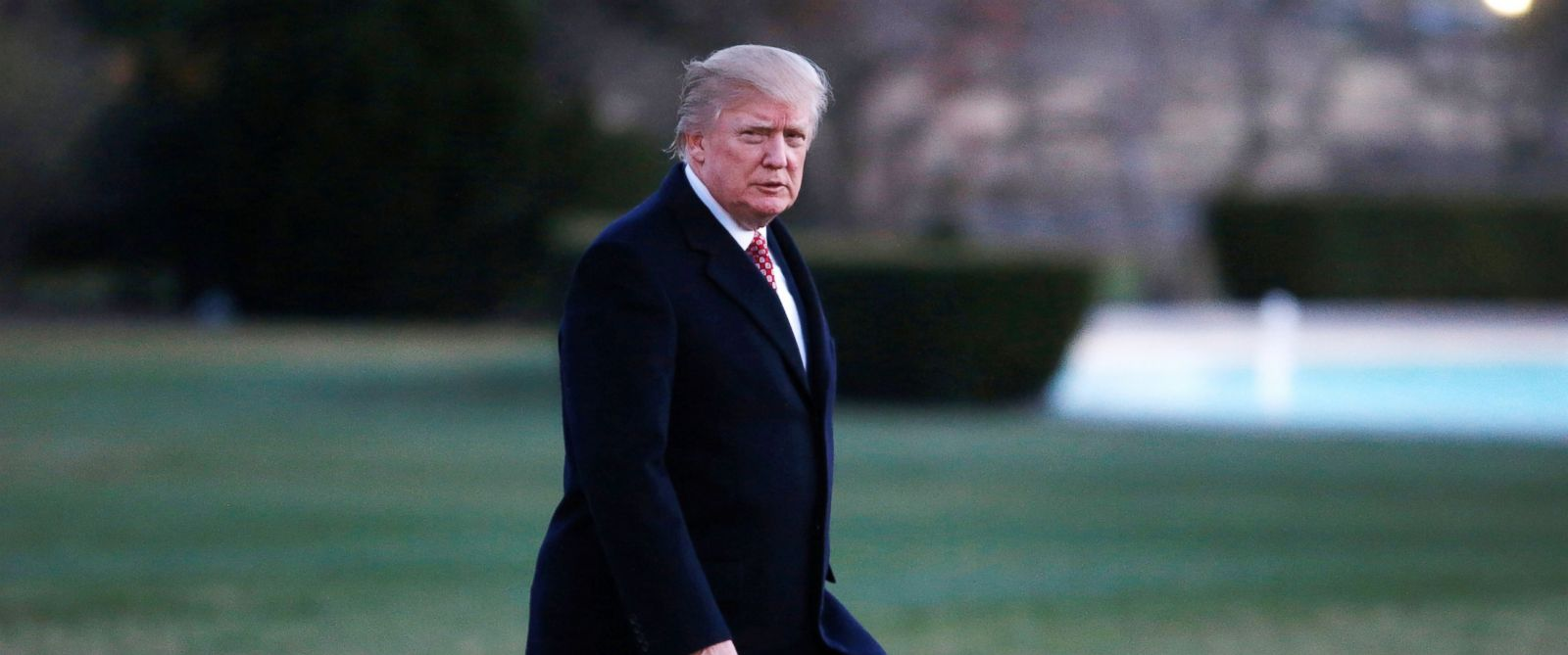 PHOTO: President Donald Trump walks from Marine One as he returns to the White House in Washington, March 5, 2017.