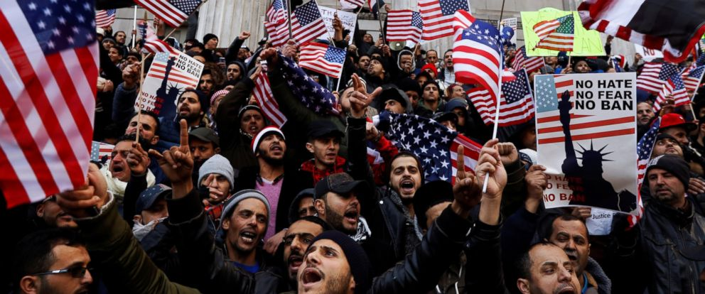 PHOTO: Demonstrators participate in a protest by the Yemeni community against President Donald Trumps travel ban in the Brooklyn borough of New York, Feb. 2, 2017.