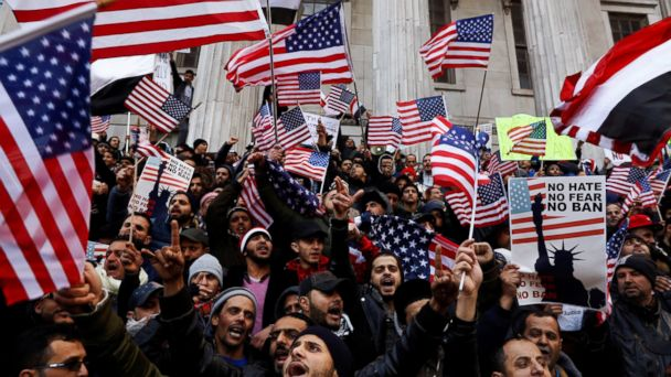 PHOTO: Demonstrators participate in a protest by the Yemeni community against President Donald Trump's travel ban in the Brooklyn borough of New York, Feb. 2, 2017.