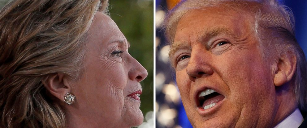 PHOTO: Hillary Clinton campaigning in Florida, left, and Donald Trump campaigning in Pennsylvania, November 1, 2016. Credit: Clinton; Reuters, Trump; AP Photo