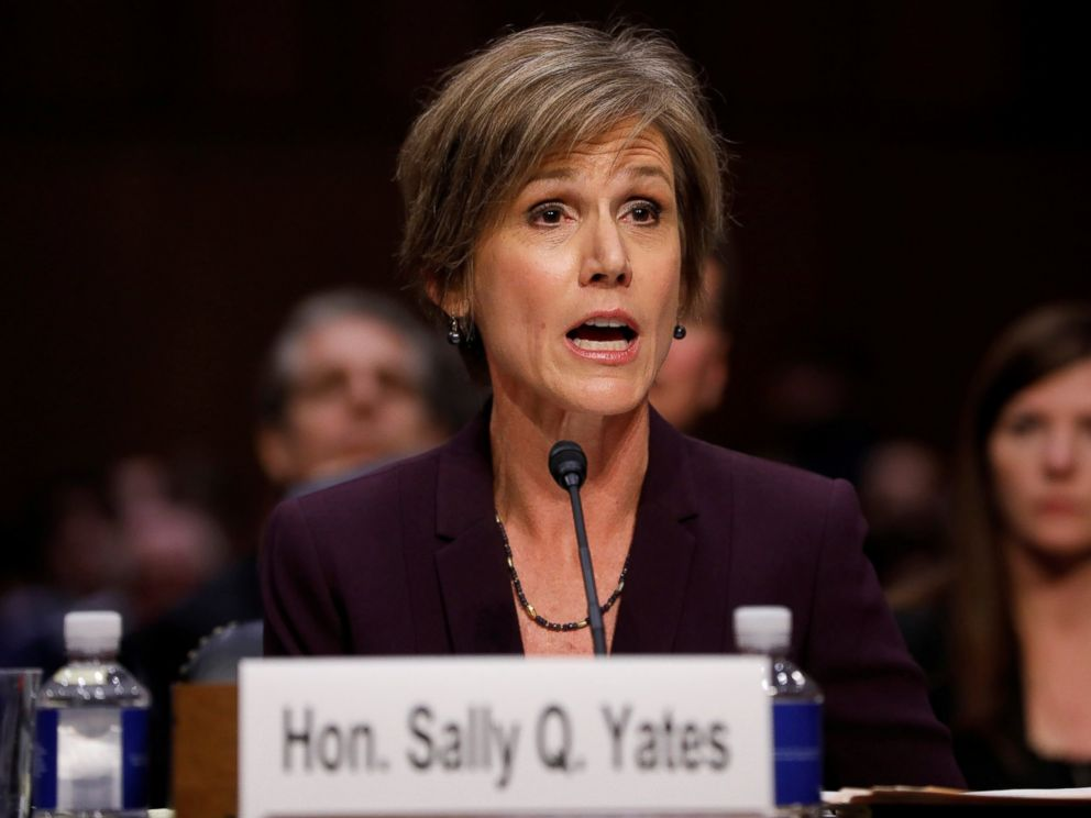 PHOTO: Former Acting Attorney General Sally Yates testifies about potential Russian interference in the presidential election before the Senate Judiciary Committee on Capitol Hill,May 8, 2017.