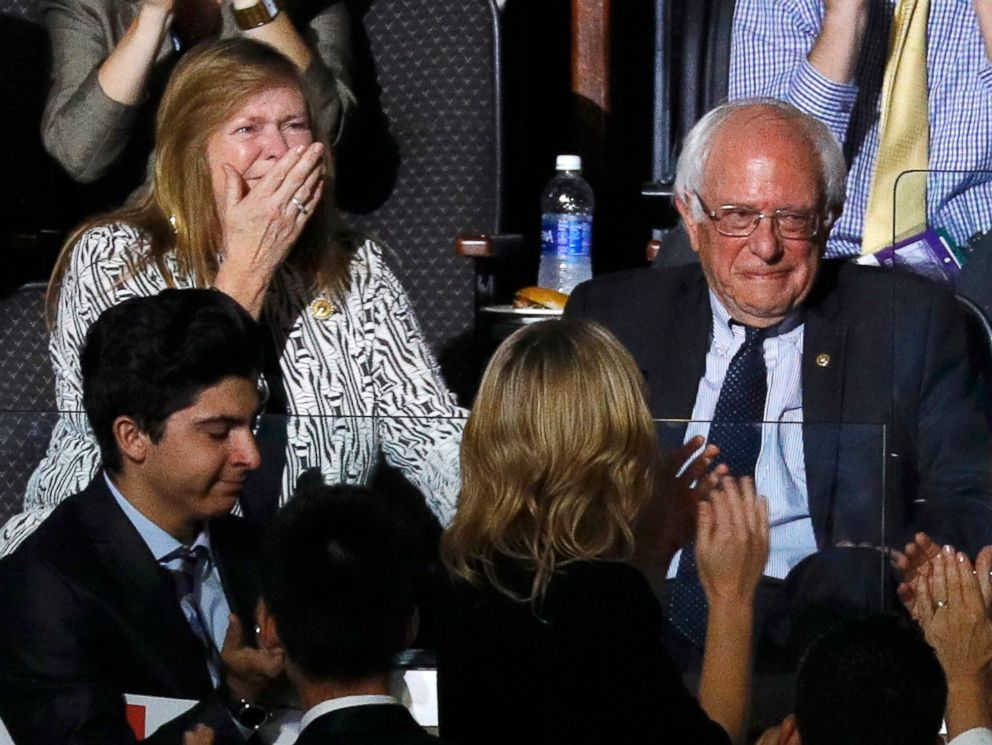 PHOTO: U.S. Senator Bernie Sanders and his wife Jane react to his brother Larry making the presidential nomination roll call for Democrats Abroad at the Democratic National Convention in Philadelphia, July 26, 2016.