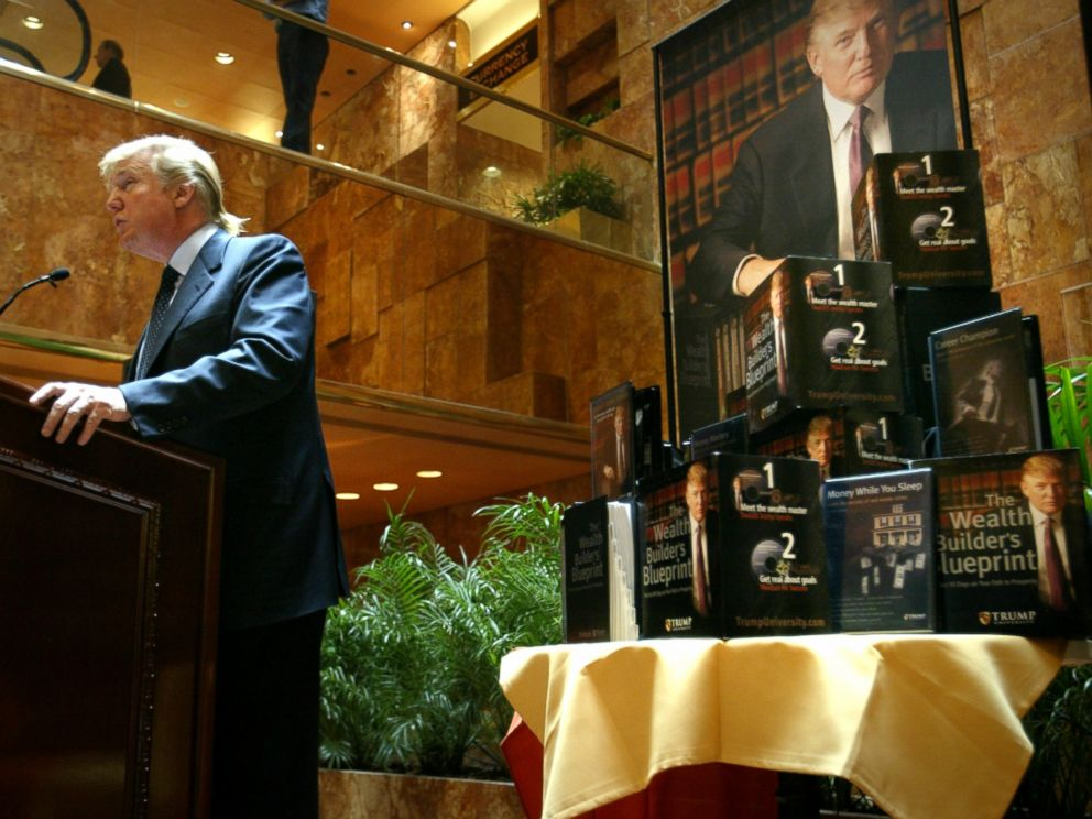 PHOTO: In this file photo, Donald Trump speaks at a press conference in New York in which he announced the establishment of Trump University, May 23, 2005.