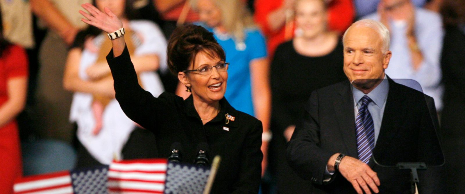 PHOTO: Senator John McCain and former Alaska Governor Sarah Palin at a campaign event in Dayton, Ohio Aug. 29, 2008.